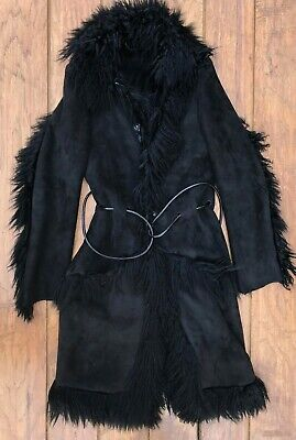 Vintage Gucci by Tom Ford black shearling coat mongolian fur RARE