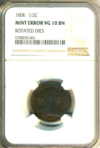 1808 ROTATED DIES DRAPED BUST HALF CENT  CHOICE VG-F = NGC VG10 - LOOKS BETTER !