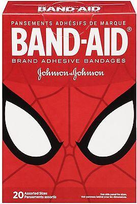 (BAND-AID Marvel Spiderman Adhesive Bandages, Assorted Sizes 20 ea)