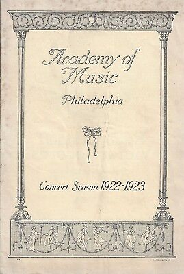 Pianist SERGEI RACHMANINOFF / Philadelphia Academy of Music 1923 Concert Program