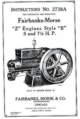 Fairbanks Morse Z B Engine Motor 5 7.5hp Book Manual Hit Miss Spark Plug 2738a