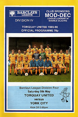 1989/90 Torquay United v York City, Division 4, PERFECT CONDITION