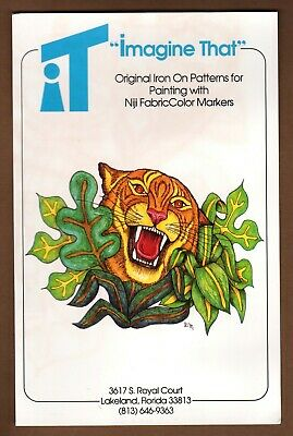 "Tiger Iron-on Pattern for Painting 14.75"" Darlene Murphy 1990 Imagine That Vtg"