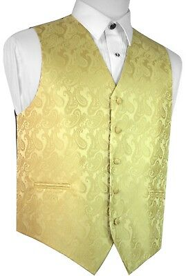 MEN'S GOLD PAISLEY FORMAL DRESS TUXEDO VEST. WEDDING, PROM - Gold Tux