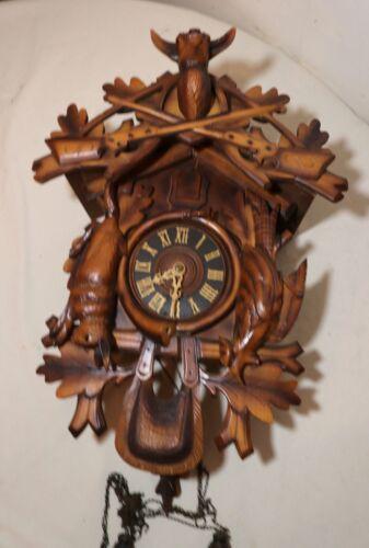 vintage hand carved wood German wall figural game deer bird cukoo clock