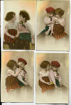CPA - Lot de 4 Cartes Postales - Fantaisie - 2 Jeunes Enfants ( SVM11829)