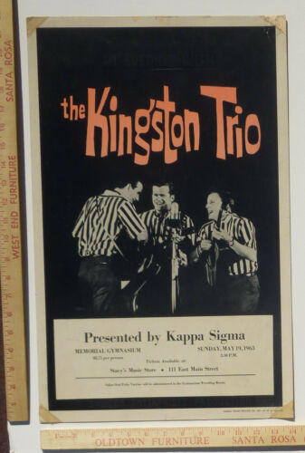 The Kingston Trio Folk Concert Poster 1963 Charloteesville Virginia