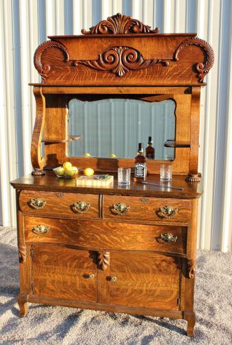 ANTIQUE Victorian TIGER OAK BAR Sideboard Buffet c1900 Stunning piece!!!