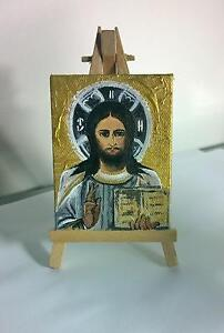 Portrait of Jesus Christ, Miniature Painting on Canvas with Easel Greenslopes Brisbane South West Preview