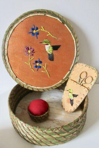 Quillwork Hummingbird sewing basket w/2 accessory baskets - Paul St John, Mohawk