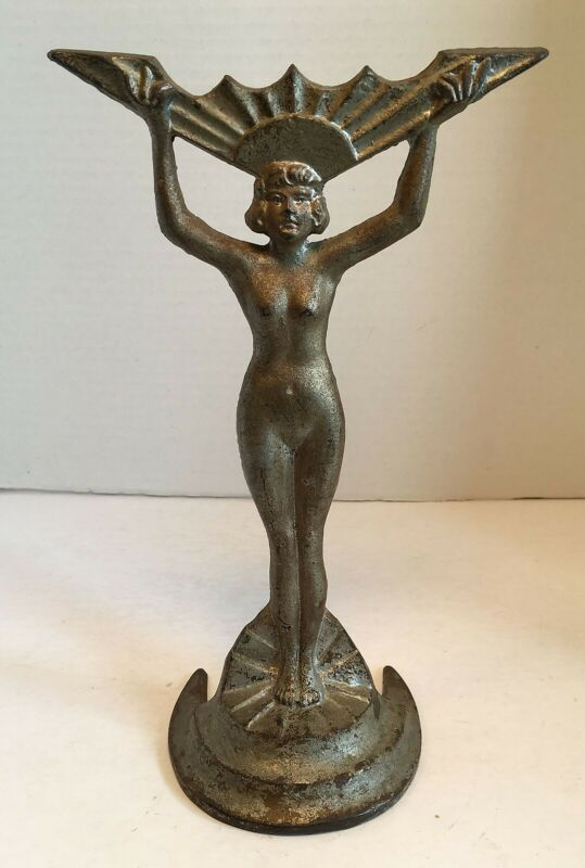 antique vintage 1930s ART DECO Nude Woman Statue with Chevron Stunning