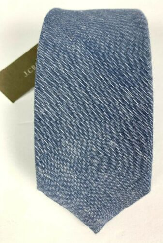 NWT J Crew Italian Cashmere Cotton Linen Chambray Skinny Tie Blue
