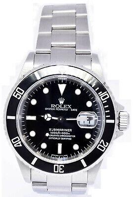 Rolex Submariner Date Steel Black Dial/Bezel Automatic Watch Box/Card U 16610