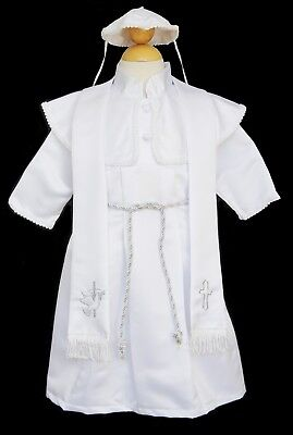Boys Infant Toddler Christening Baptism White Gown Set, SIze: X-Small to 4T ()