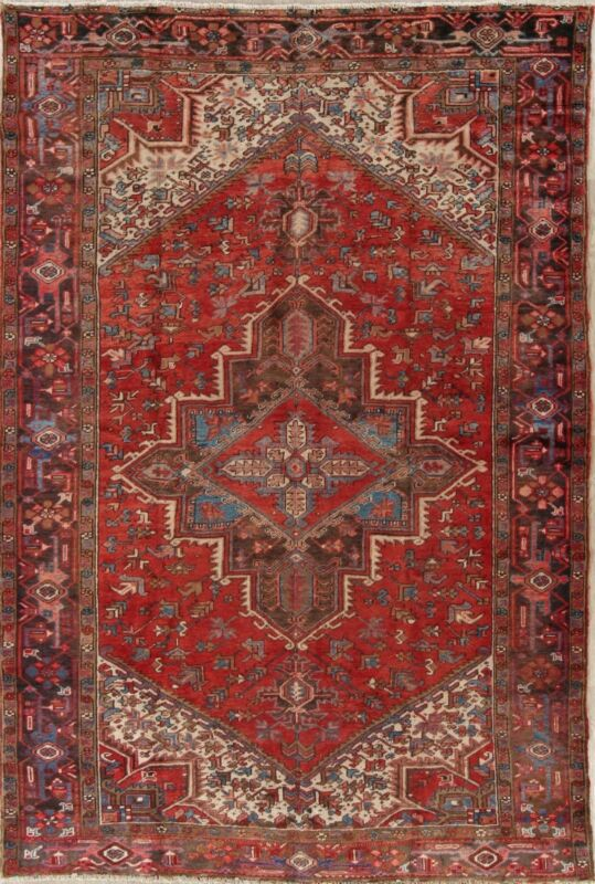 Antique Geometric Heriz Serapi Area Rug Hand-Knotted Oriental Living Room 8
