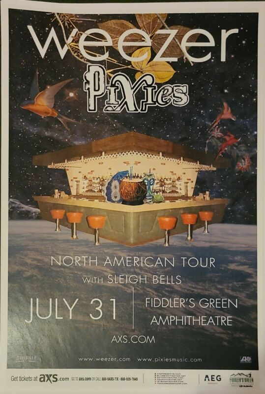 Weezer With The Pixies Denver Promo Concert Show Poster 11x17