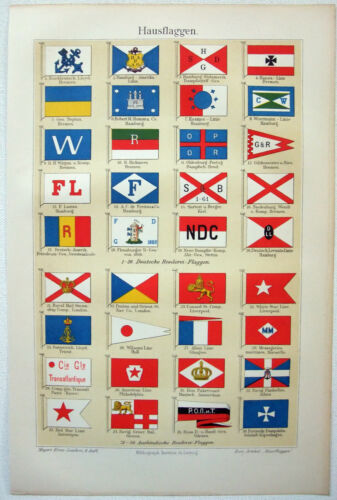 Steamship Company Flags - Original 1906 Chromo-Lithograph by Meyers. Antique