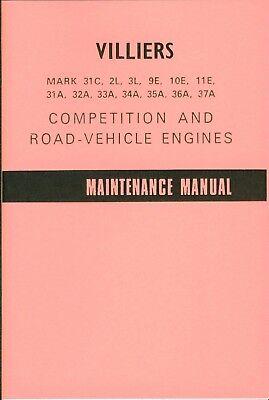 Villiers Handbook MK 2L 3L 9-11E 31A B 32-37A  Motorcycle Maintenance Manual