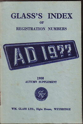 Glass's Index of Registration Numbers Supplement Autumn 1958