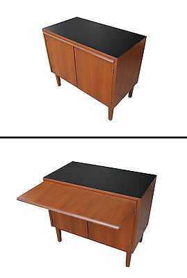 Danish Modern Petite Teak Server Credenza Desk Dry Bar Cabinet w/ Pull Out Top
