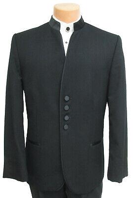Men's Black Jean Yves Tuxedo Jacket Satin Mandarin Nehru Collar Beatles Band (Black Mandarin Collar Tuxedo)