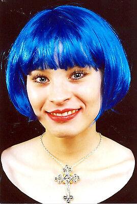 süße Damen PERÜCKE blau Pagenkopf halblang Bob zB Kostüm Charleston Hippie - Blau Perücke Kostüm