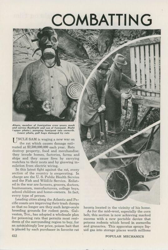1941 Magazine Article Combating the Rat Menace Exterminating Exterminators