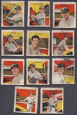 Lot (11 diff) 1933 Tattoo Orbit Reprint cards - Cochrane Foxx Grove Waner Kamm - Cards Tattoo