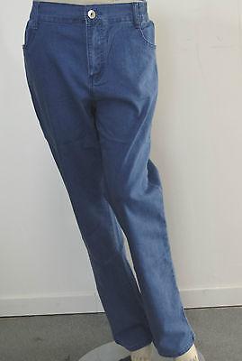 Pantalon Jeans Femme Bleu Grande Taille Classique Elastique Marque Rose Player