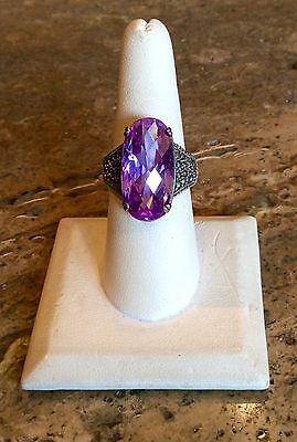 Bold   Beautiful Sterling Silver Lavender Austrian Crystal   Marcasite Ring