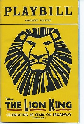 THE LION KING Playbill 20th ANNIVERSARY PERFORMANCE Elton John Julie Taymor