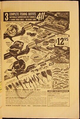 FISHING REELS - FISHING LURES - VINTAGE 1971 COMIC BOOK PAGE AD - ADVERTISING
