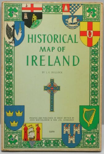 Historic Map of Ireland Bartholomew Pub Mounted on Cloth