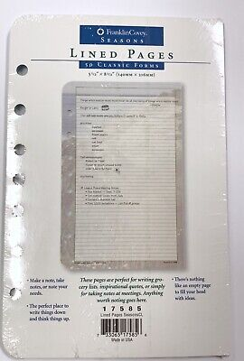 Franklin Covey Quest Seasons 50 Classic Forms Lined Pages 5.5 X 8.5 17585 Nip