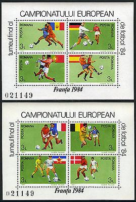 Romania 3201A-3201B, MI Bl.205-206, MNH. European Soccer Cup Championships, 1984