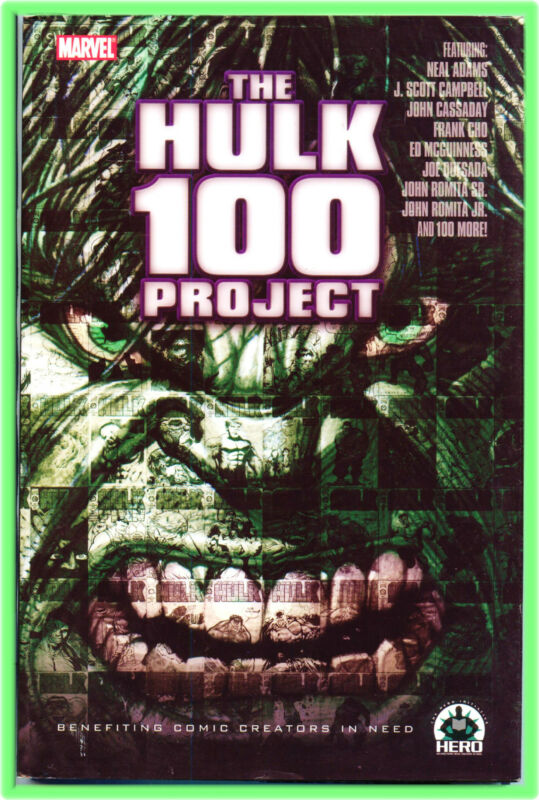 MARVEL HERO INITIATIVE THE HULK 100 PROJECT SIGNED BENDIS FINCH PEREZ TRIMPE HA