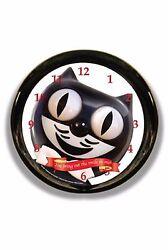 Classic Vintage Retro Round Kit-Cat Klock 12 Black Clock Rolling Eye Tail Kitty