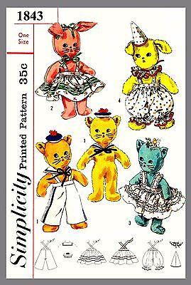 Vintage  Stuffed Toys W / Wardrobe Bunny Cat Dog Fabric Sew Pattern # 1843