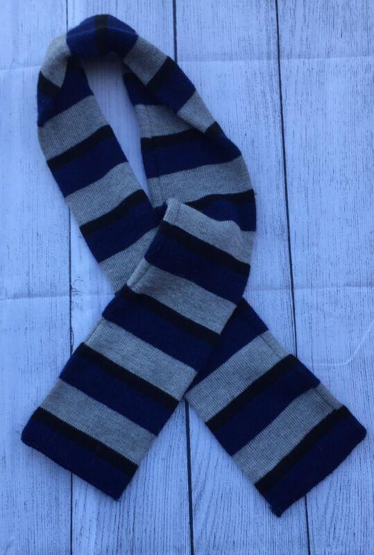 TOBY Toddler Gray, Navy, & Black Striped Knit Scarf