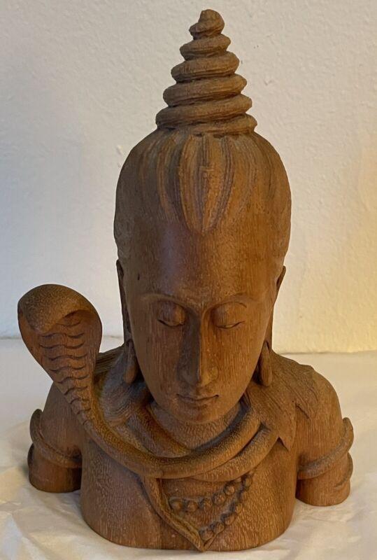 "Vintage Wood Carved Bust Hindu Lord Shiva W/ Vasuki Snake Made In Indonesia 8"""