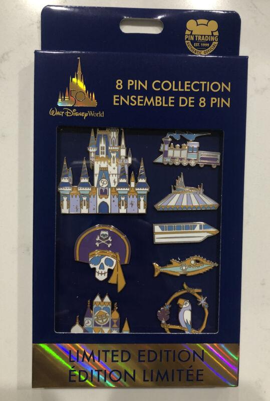 Walt Disney World 50 Pin Set 50th Anniversary 8 Pin Collection Pin Set LE 1500