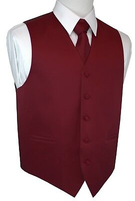 ITALIAN DESIGN. 3 PIECE BURGUNDY SATIN FORMAL TUXEDO VEST, TIE & HANKIE SET. 3 Piece Satin Vest