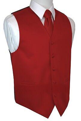 Italian Design. 3-Piece Red Formal Satin Tuxedo Vest, Tie & Hankie Set (XS-6XL) 3 Piece Satin Vest