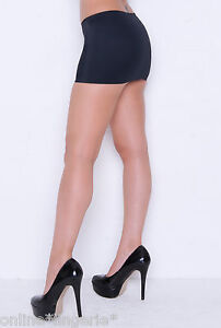 SIZE-8-10-BLACK-SILKY-LYCRA-MICRO-MINI-SKIRT-PULL-ON-SHORT-SEXY-DANCE-PARTY-CS2