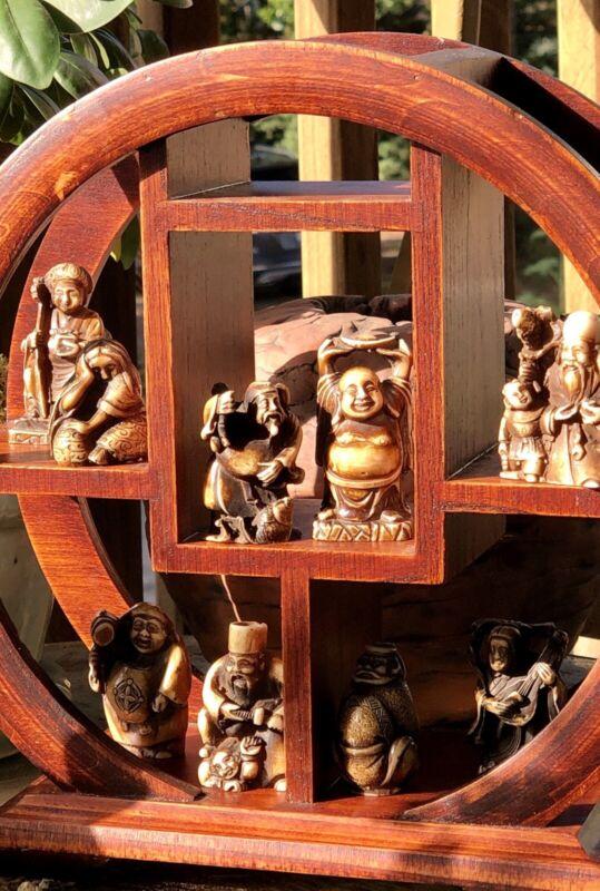 LOT 9 Carved Japanese Okimono Netsuke Buddha Men women Ojime Bead Rosewood Stand