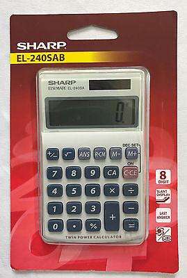 Sharp Handheld Desk Top Calculator Basic 8 Digit Desktop Solar Powered EL240SAB