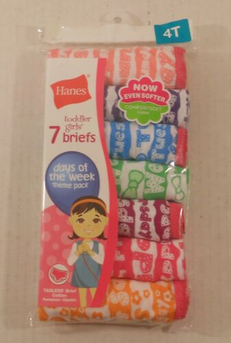 Hanes Toddler Girls Briefs Days of the Week 7 Pair 100% Cotton 4T  TAGLESS