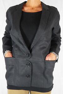 Womens-Designer-Acne-Owner-Loose-fitting-Black-Linen-Blazer-Coat-Jacket