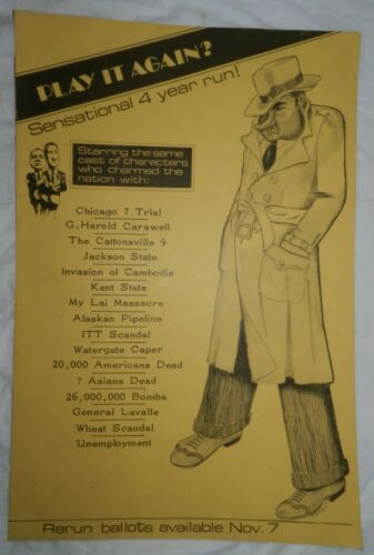 Vintage Anti-Nixon Political Poster, Play it Again?