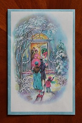 - Vintage UNUSED Christmas Card GLITTER VICTORIAN OPEN DOOR GREETING FRIENDS CHILD